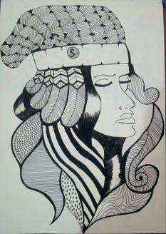 Queen (ART_3968_25022) - Handpainted Art Painting - 8in X 11in