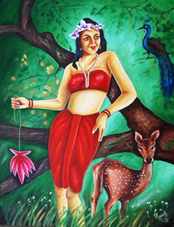 Power of Love - 20in x 28in,ART_RHVN07_2028,Oil Colors,Canvas,Artist Ragunath Venkatraman,Lady,Nature,Museum Quality - 100% Handpaint - Buy painting online in india