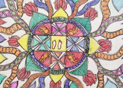 Ram Charan Madhubani Painting (ART_3977_24981) - Handpainted Art Painting - 16in X 12in