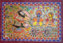 Krishna riding Arjun (ART_3973_24959) - Handpainted Art Painting - 23in X 16in