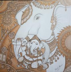 Ganesha (ART_3983_25088) - Handpainted Art Painting - 12in X 12in