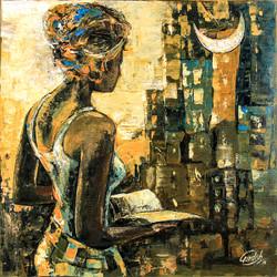 MOON LIGHT # Hostel series_11 (ART_2571_25073) - Handpainted Art Painting - 18in X 18in
