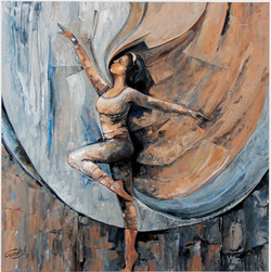 An Elegant Dance (ART_2571_19033) - Handpainted Art Painting - 18in X 18in