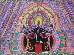 Maa Kali Madhubani Painting (ART_3977_25231) - Handpainted Art Painting - 12in X 16in