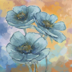BlueFlower3 - 24in X 24in,71Flower07_2424,Blue, Violet, Mauve,60X60 Size,Flowers, Animals, Nature Art Canvas Painting