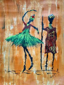 Tribal Dance! (ART_4050_25270) - Handpainted Art Painting - 10in X 14in
