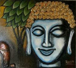 PEACEFUL BUDDHA (ART_3692_25255) - Handpainted Art Painting - 26in X 26in