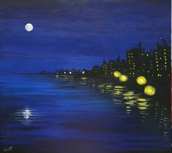 Night scape (ART_4018_25121) - Handpainted Art Painting - 24in X 18in
