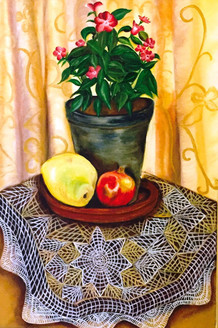 Flower Pot & Fruits on a Table (ART_4028_25188) - Handpainted Art Painting - 14in X 22in