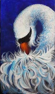 Swan (ART_4018_25138) - Handpainted Art Painting - 12in X 30in