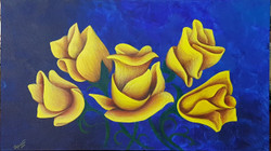 Yellow roses on blue (ART_4018_25113) - Handpainted Art Painting - 24in X 12in