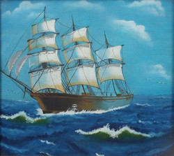 The Moving Yacht (ART_3960_24999) - Handpainted Art Painting - 24in X 24in