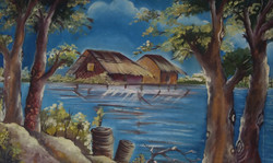 Blue river (ART_3960_24997) - Handpainted Art Painting - 24in X 16in