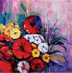 FLORAL_12 (ART_2571_20224) - Handpainted Art Painting - 18in X 18in