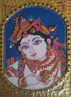 Tanjore Krishna (ART_4052_25427) - Handpainted Art Painting - 6in X 8in