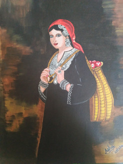 Kashmiri  lady with a basket of apples (ART_4052_25290) - Handpainted Art Painting - 14in X 18in