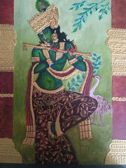 Vrindaavani Krishna (ART_4052_25260) - Handpainted Art Painting - 14in X 18in
