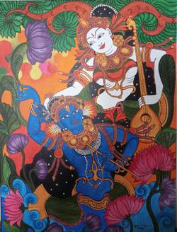 Mural painting of Krishna and Radha (ART_4001_25166) - Handpainted Art Painting - 18in X 24in