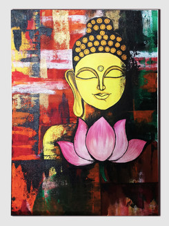 Acrylic painting of Buddha (ART_4001_25064) - Handpainted Art Painting - 15in X 22in