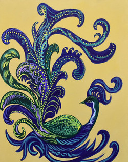 Stylized peacock (ART_4018_25518) - Handpainted Art Painting - 16in X 18in