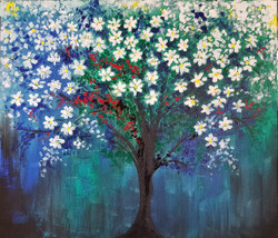 White minis on blue and green (ART_4018_25504) - Handpainted Art Painting - 24in X 24in