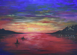 Sunsetting romance (ART_4018_25503) - Handpainted Art Painting - 24in X 24in