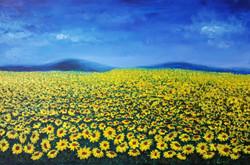 Sunflower field (ART_4018_25501) - Handpainted Art Painting - 36in X 30in