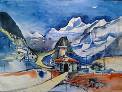Landscape with tample (ART_4053_25496) - Handpainted Art Painting - 29in X 22in