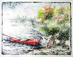 Boat and Tree  - 13in X 10in,ART_KAPL53_1310,Mixed Media,Landscape,river,boat,Artist Kankana Pal - Buy Paintings Online in India.