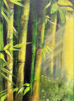 Magnificent bamboos (ART_1968_25606) - Handpainted Art Painting - 10in X 14in