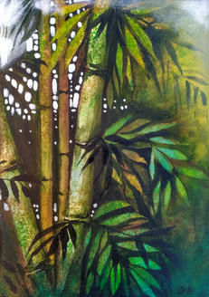 Lucky bamboos (ART_1968_25605) - Handpainted Art Painting - 10in X 14in