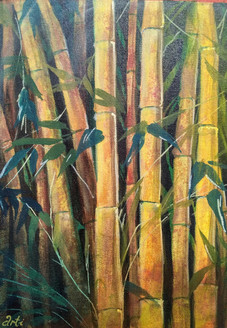 Bamboo forest (ART_1968_25604) - Handpainted Art Painting - 10in X 14in