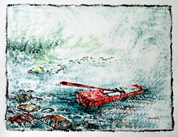 Boat and Tree01 - 13in X 10in,ART_KAPL54_1310,Mixed Media,Landscape,river,boat,Artist Kankana Pal - Buy Paintings Online in India.