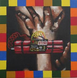 Identified & Killed 1 (ART_3998_25562) - Handpainted Art Painting - 8in X 8in (Framed)