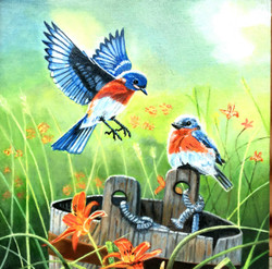 Pair of Birds chirping in deep forest (ART_4094_25468) - Handpainted Art Painting - 12in X 12in