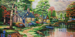 Colourful village (ART_4094_25461) - Handpainted Art Painting - 46in X 26in (Framed)