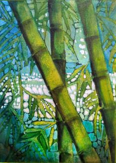 Flexible bamboos (ART_1968_25602) - Handpainted Art Painting - 10in X 14in