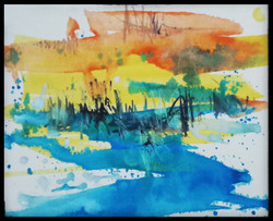 Land scape 4 (ART_836_25611) - Handpainted Art Painting - 8in X 10in