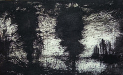 The Dark Jungle (ART_836_25679) - Handpainted Art Painting - 12in X 10in