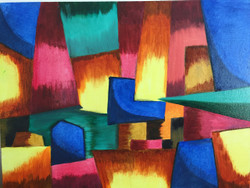 Abstract 3D effect multi colored (ART_4154_25728) - Handpainted Art Painting - 24in X 18in