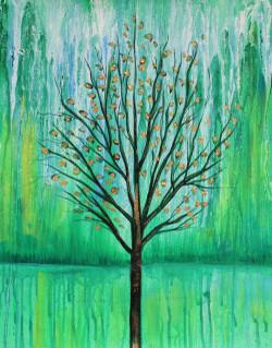 Beauty of greenery (ART_1522_25724) - Handpainted Art Painting - 14in X 18in