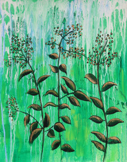 Beauty of greenery (ART_1522_25723) - Handpainted Art Painting - 14in X 18in