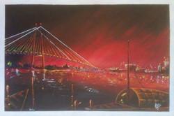City of joy (ART_3061_25636) - Handpainted Art Painting - 24in X 16in (Framed)