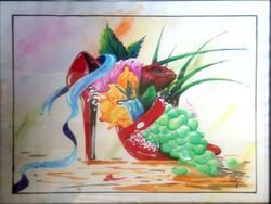Red heel (ART_3061_25634) - Handpainted Art Painting - 12in X 9in
