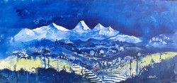 Himaliya series ll (ART_4053_25759) - Handpainted Art Painting - 36in X 16in (Framed)