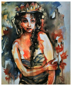 The Lady (ART_836_25752) - Handpainted Art Painting - 30in X 36in
