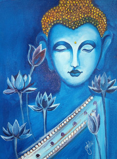 Gautam buddha paintings (ART_2979_25738) - Handpainted Art Painting - 12in X 16in