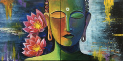Buddha with background of infinite universe and depthless ocean (ART_4056_25327) - Handpainted Art Painting - 24in X 12in