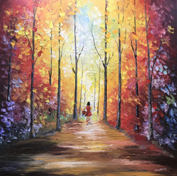 Walk through woods (ART_4056_25325) - Handpainted Art Painting - 24in X 24in