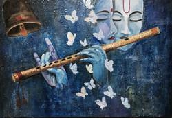Radhakrishna  (ART_4056_25323) - Handpainted Art Painting - 24in X 18in